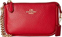 COACH Pebble Leather Small Wristlet 15,IM/Classic Red