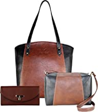 Fargo Motley PU Leather Women's Handbag With Sling Bag And Hand Clutch Combo Of 3 (Brown_FGO-156)