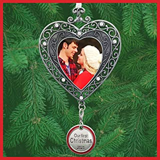 BANBERRY DESIGNS Our First Christmas Ornament 2019 - Silver Filigree Heart Shaped Photo Ornament - Xmas Picture Ornaments