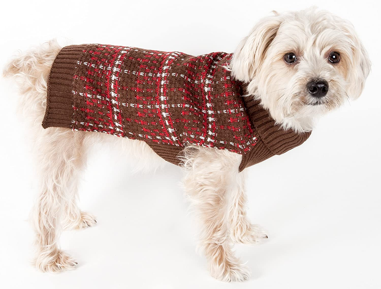 PET LIFE 'Vintage Symphony' Static Fashion Designer Knitted Pet Dog Sweater, Large, Mud Brown, Red and White