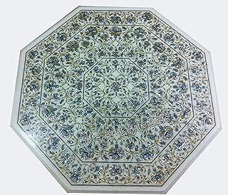 Gifts And Artefacts Mesa de café con forma octogonal de 106 cm con incrustaciones de mármol para oficina y reuniones con p...
