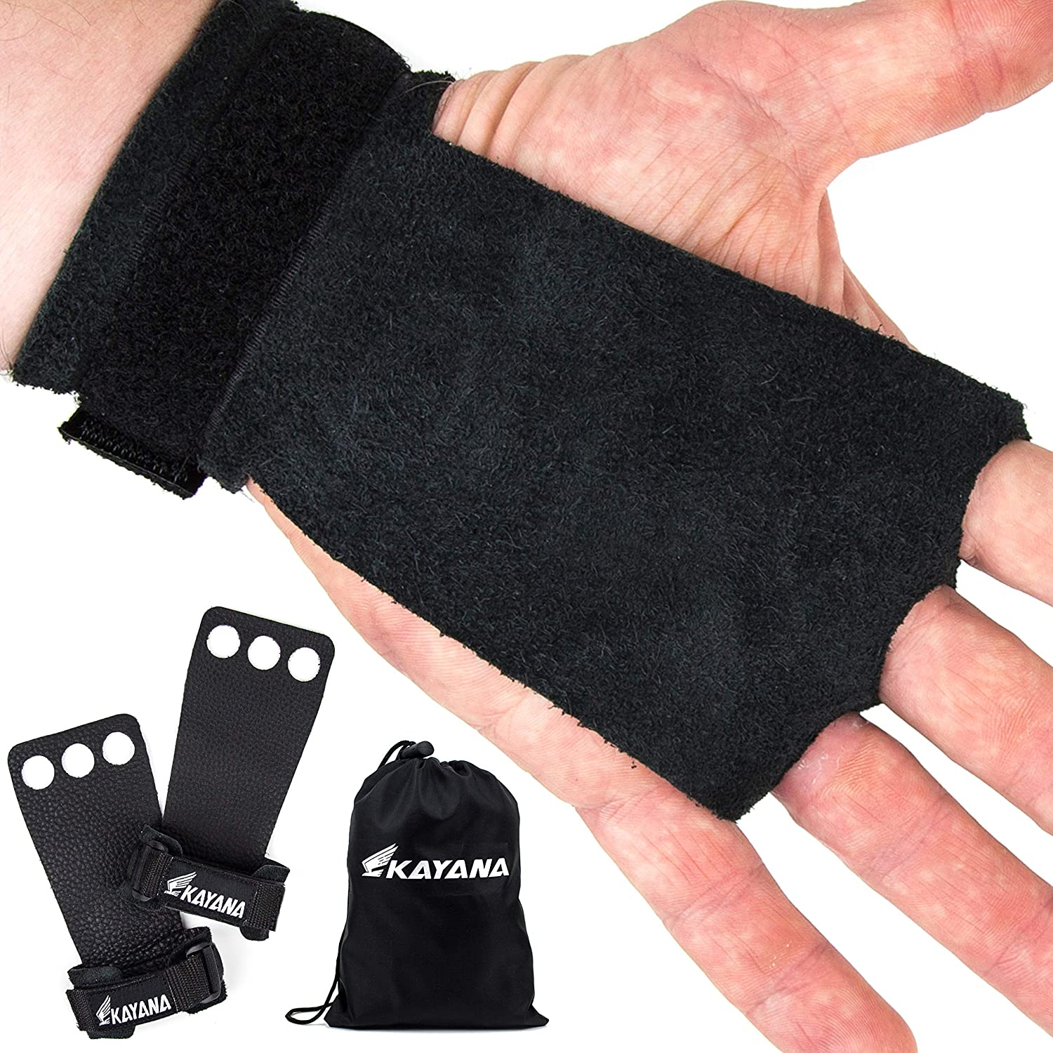 KAYANA Easy-to-use 3 Hole Leather Gymnastics Hand Palm Protection an Grips Large special price -