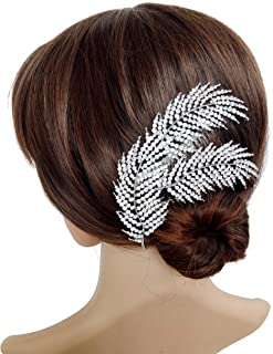 Wedding Crystal Rhinestones Hair Combs Clips Decorative Leaves Bridal Headpiece Hair Accessories for Brides, Silver