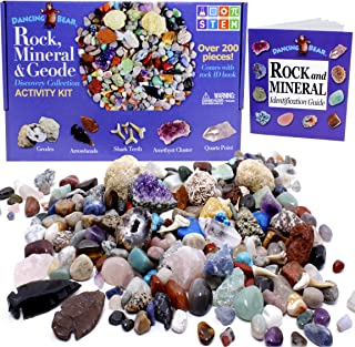Dancing Bear Rock & Mineral Collection Activity Kit (200+Pcs) with Geodes, Shark Teeth Fossils, Arrowheads, Crystals, Gemstones for Kids, Rock Book, Treasure Hunt ID Sheet, STEM Science Education