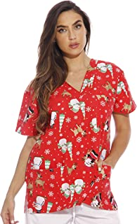 Women's Scrub Tops Holiday Scrubs Nursing Scrubs