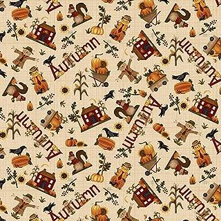Buttermilk Autumn Cream Novelty Toss by Stacy West Buttermilk Basin from Henry Glass 100% Cotton Quilt Fabric 2273-33