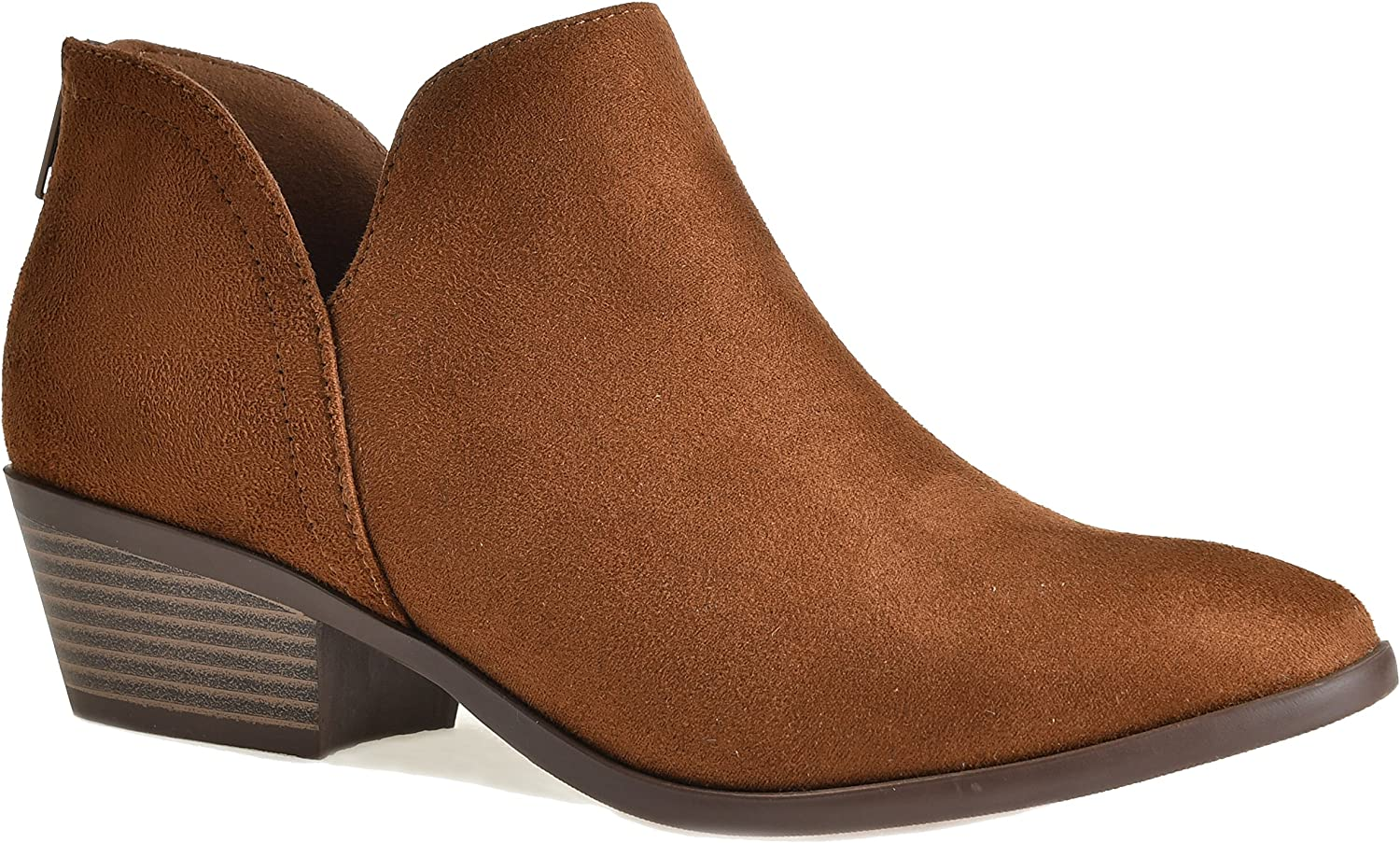 LUSTHAVE Women's Madeline Western Almond Round Toe Slip on Bootie - Low Stack Heel - Zip Up - Casual Ankle Boot