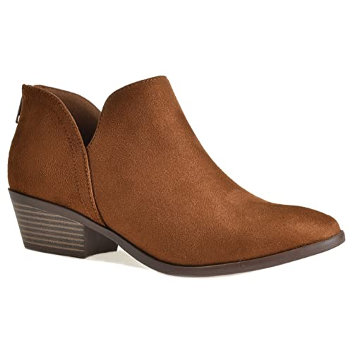 b400582d510a Women s Madeline Western Almond Round Toe Slip on Bootie - Low Stack Heel -  Zip Up