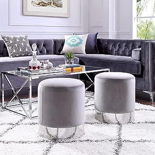 Inspired Home Elsa Grey Velvet Round Ottoman - Chrome Metal Base | Upholstered | Modern | Contemporary | 1 pc ONLY