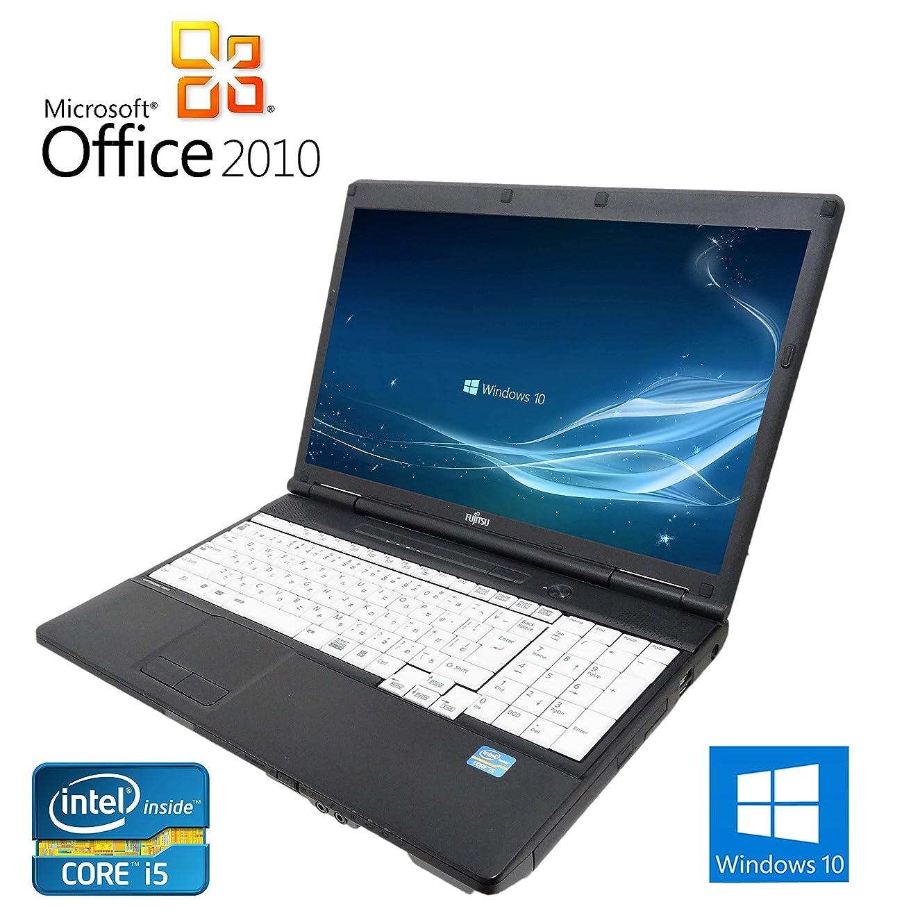 連合ネズミ日曜日【Microsoft Office 2010搭載】【Win 10搭載】富士通 A561/C/第二世代Core i5 2.5GHz/メモリ4GB/HDD:500GB/DVDスーパーマルチ/大画面15インチ/10キー付/無線LAN搭載/中古ノートパソコン (ハードディスク:500GB)