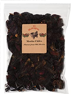 Dried Morita Chiles El Molcajete Brand 8 oz Resealable Bag ‐ Mexican Recipes, Tamales, Salsa, Chili, Meats, Soups, Stews & BBQ