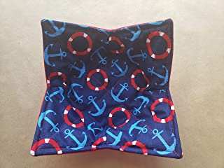 Anchor Life Preservers Microwave Bowl Cozy Nautical Reversible Microwaveable Potholder Navy Bowl Buddy Coastal Kitchen Linens Anchor Themed Gifts Handmade Housewarming Hostess GIft Beach House