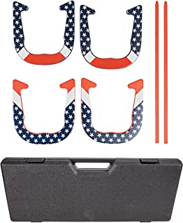 Triumph Patriotic Forged Horseshoe Set Complete with 4 Horseshoes, 2 Stakes and Hard Plastic Case with Locking Tabs for Tr...