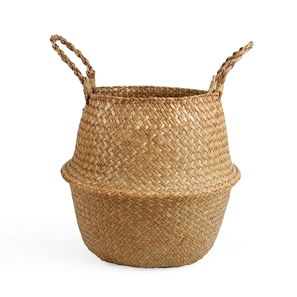 BlueMake Woven Seagrass Belly Basket for Storage Plant Pot Basket and Laundry, Picnic and Grocery Basket (Medium, Original) afuzyqqarzbodq