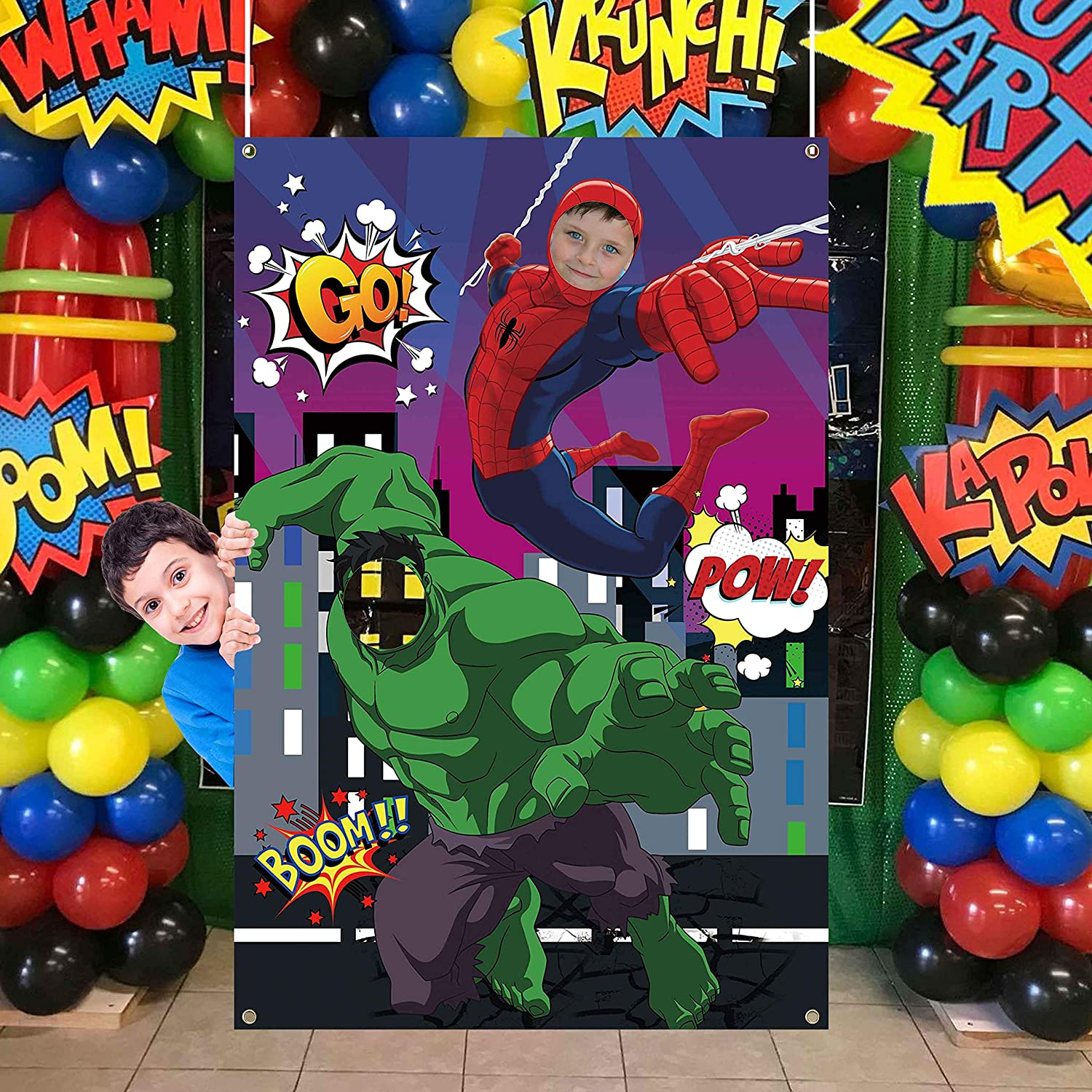 TUWUNA Superhero Photo Door Banner Superh Our shop most popular Green Choice Spider Giant and