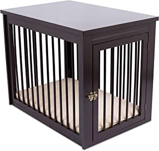 Internet's Best Decorative Dog Kennel with Pet Bed - Wooden Dog House - Large Indoor Pet Crate Side Table - Espresso