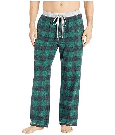 True Grit Melange Buffalo Check Flannel Pajama Pants with Heather Knit Trim (Green) Men