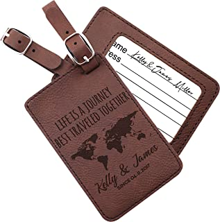 Personalized Leather Luggage Tags Gifts with Engraved Design and Name - Traveler Gifts for Women, Men, Kids - Custom Suitcase Tag for Honeymoon - Christmas Gifts for Travelers #9