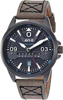 Men's Hawker Harrier II Stainless Steel Japanese-Quartz Aviator Watch with Leather Strap, Grey, 21.5 (Model: AV-4063-03)