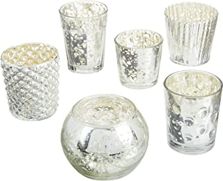 Luna Bazaar Best of Vintage Mercury Glass Candle Holders (Silver, Set of 6) - For Use with Tea Lights - For Home Decor, Parties, and Wedding Decorations - Mercury Glass Votive Holders