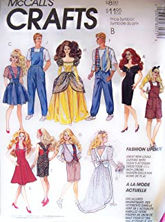 Mccall's 6317 Barbie & Ken Fashion Doll Clothes Wardrobe Crafts Sewing Pattern
