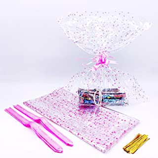 Lot de 20 Cellophane Transparent, Papier Cadeau Cellophane, Transparent pour Emballage de Cadeaux, Rendez Votre Cadeau Plu...