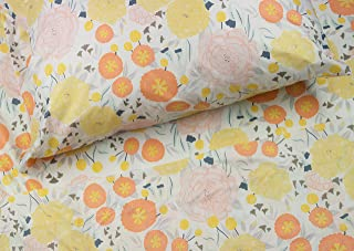 Where the Polka Dots Roam Light Floral Queen Sheet Set, Soft Sheets for Deep Matresses, 4 Piece Full Size Set, Pink, Yellow, Seafoam Teal and Coral Flowers