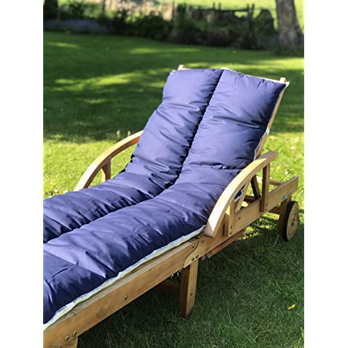 Lancashire Textiles Supreme Quality Sun Lounger Recliner Patio Garden Furniture Replacement Cushion Topper Pad with Elasticated Straps - Made in UK - Navy Blue