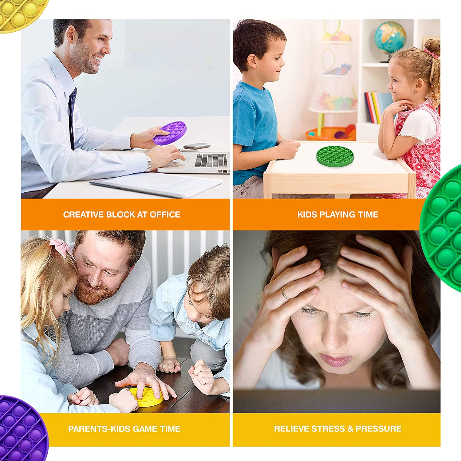 Good for Kids Family and Friends Squeeze Toy for Homeschool /& Office Green+Yellow+Purple 3 Pack Push Pop Bubble Sensory Fidget Toys Set Mixed Special Needs Silicone Stress Reliever Poppet Toy