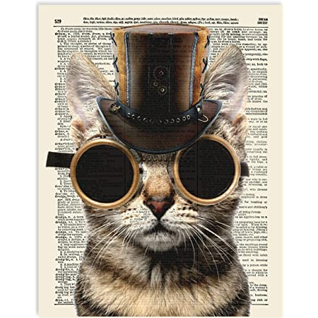 fish steampunk print on dictionary book page art poster reproduction