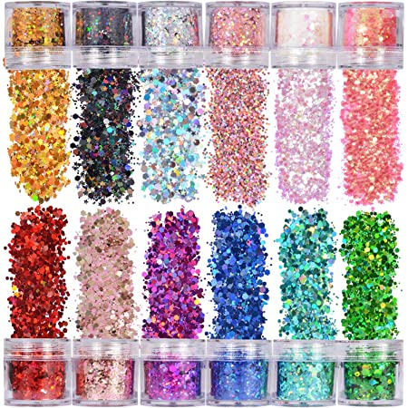 Warmfits Holographic Chunky Glitter 12 Colors Total 120g Face Body Eye Hair Nail Festival Chunky Holographic Glitter Different Size Stars and Hexagons Shaped (Set A)