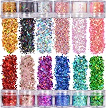 Warmfits Holographic Chunky Glitter 12 Colors Total 120g Face Body Eye Hair Nail Festival Chunky Holographic Glitter Diffe...