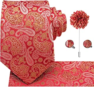 Dubulle 4pcs Lapel Pin and Necktie Hankerchief Cufflinks Set for Men