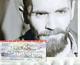 """CHARLES""""Mills"""" MANSON/Manson Family rare twice signed personal check & photo -"""