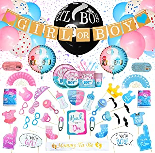 Party Makr Premium 285 pieces Baby Gender Reveal Party Supplies & Tableware Set   For 24 Guests   Boy or Girl Theme   36 inches Pink or Blue Confetti Popper Balloon   Include Banner, Mom Sash, Photo Props, Stickers, Foil, Cupcake Toppers and Assorted Balloons