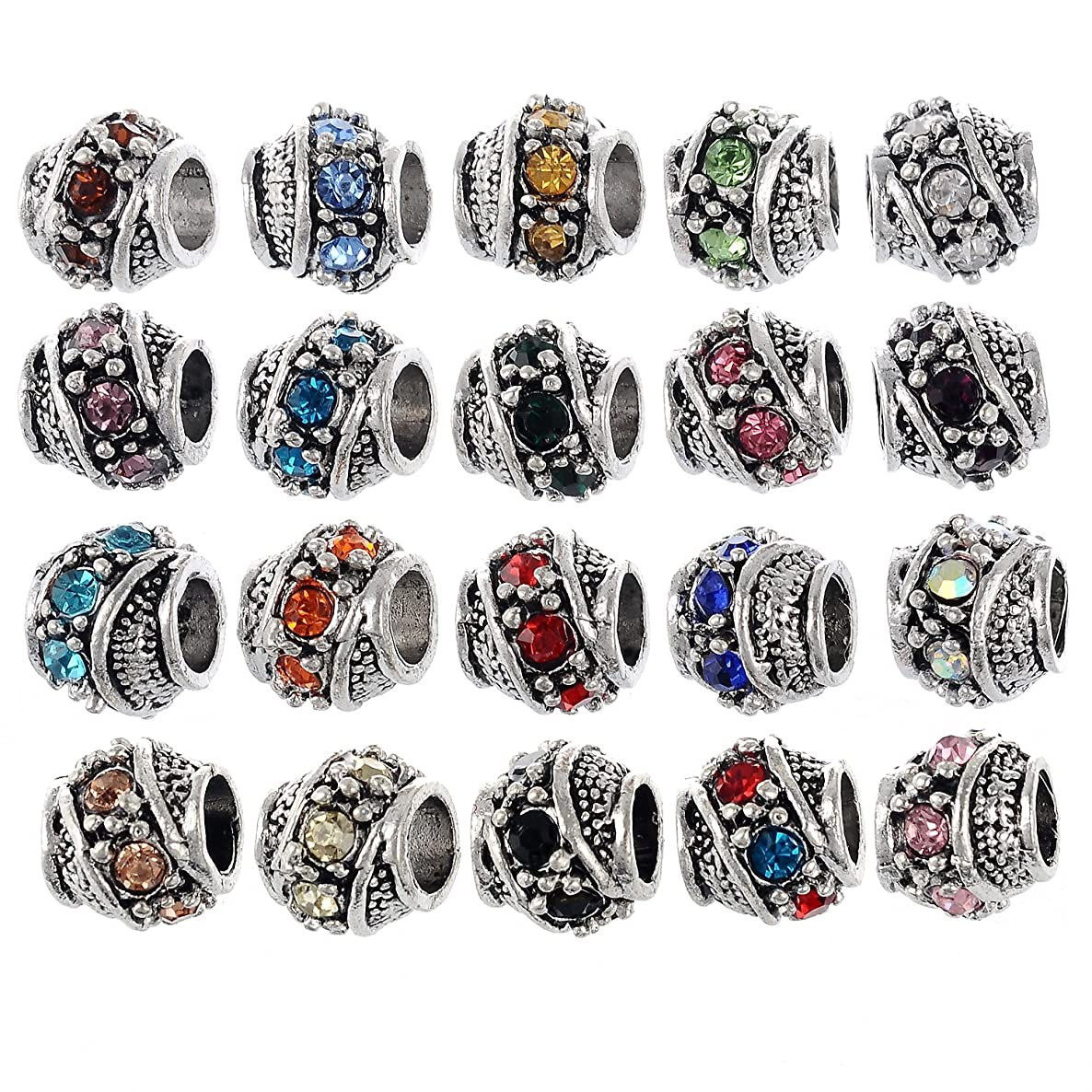 RUBYCA 60Pcs Silver Color Tibetan Charm Beads Crystals Rhinestones fit European Charm Bracelet Mix Color