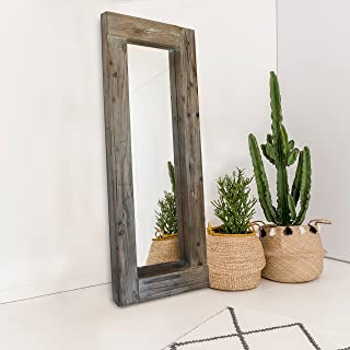 """Barnyard Designs Long Decorative Wall Mirror, Rustic Distressed Unfinished Wood Frame, Vertical and Horizontal Hanging Mirror Wall Decor 58"""" x 24"""""""