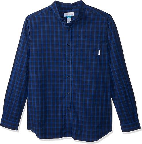 Columbia Hommes's Back II Big & Tall manche longue Shirt, bleu petit Plaid, XLT