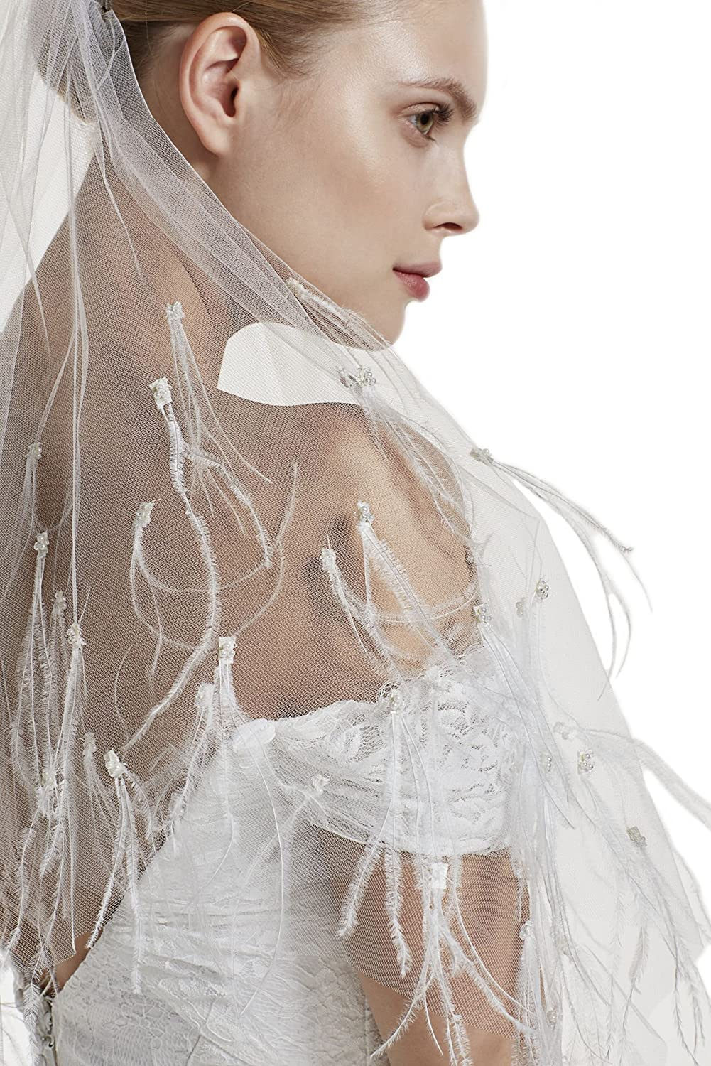 Gogh One Tier 36  Fingertip Wedding Bridal Veil Full With ostrich feather Pearls 38