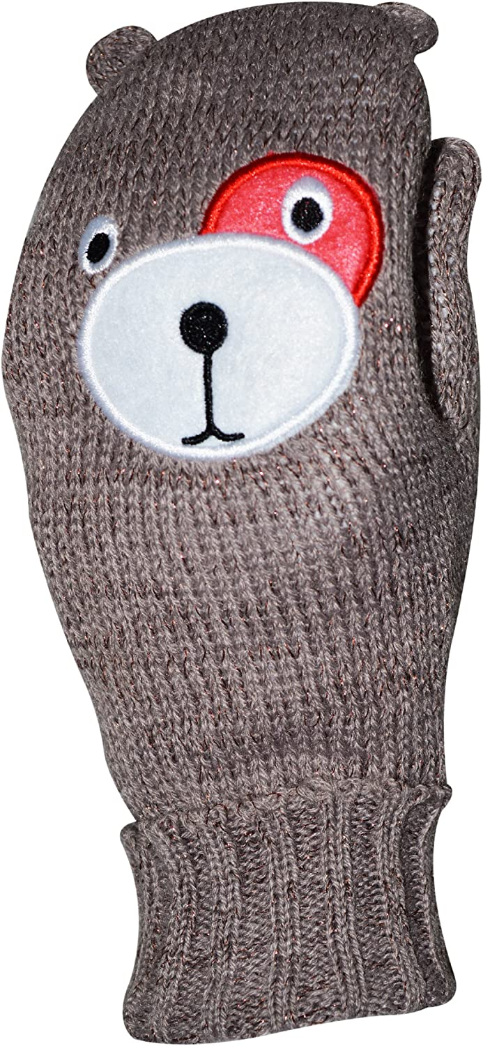 Octave Girls Knitted Teddy Bear Face Mittens With Lurex For Sparkle! - Brown