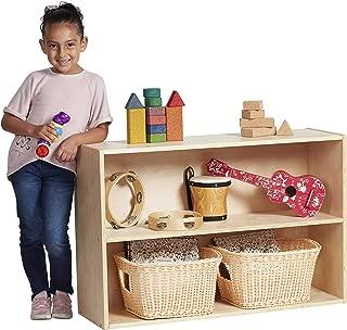 ECR4Kids Birch Streamline Storage Cabinet | Hardwood Classroom & Home Storage Solution for Kids | 2-Shelf with Back, 24
