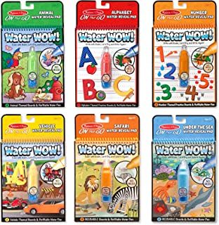 Melissa & Doug On the Go Water Wow! Reusable Travel Activity Pad 6-Pack (Alphabet, Number, Safari, Vehicle, Animal, Under the Sea, Refillable Water Pen, Reusable Pages)