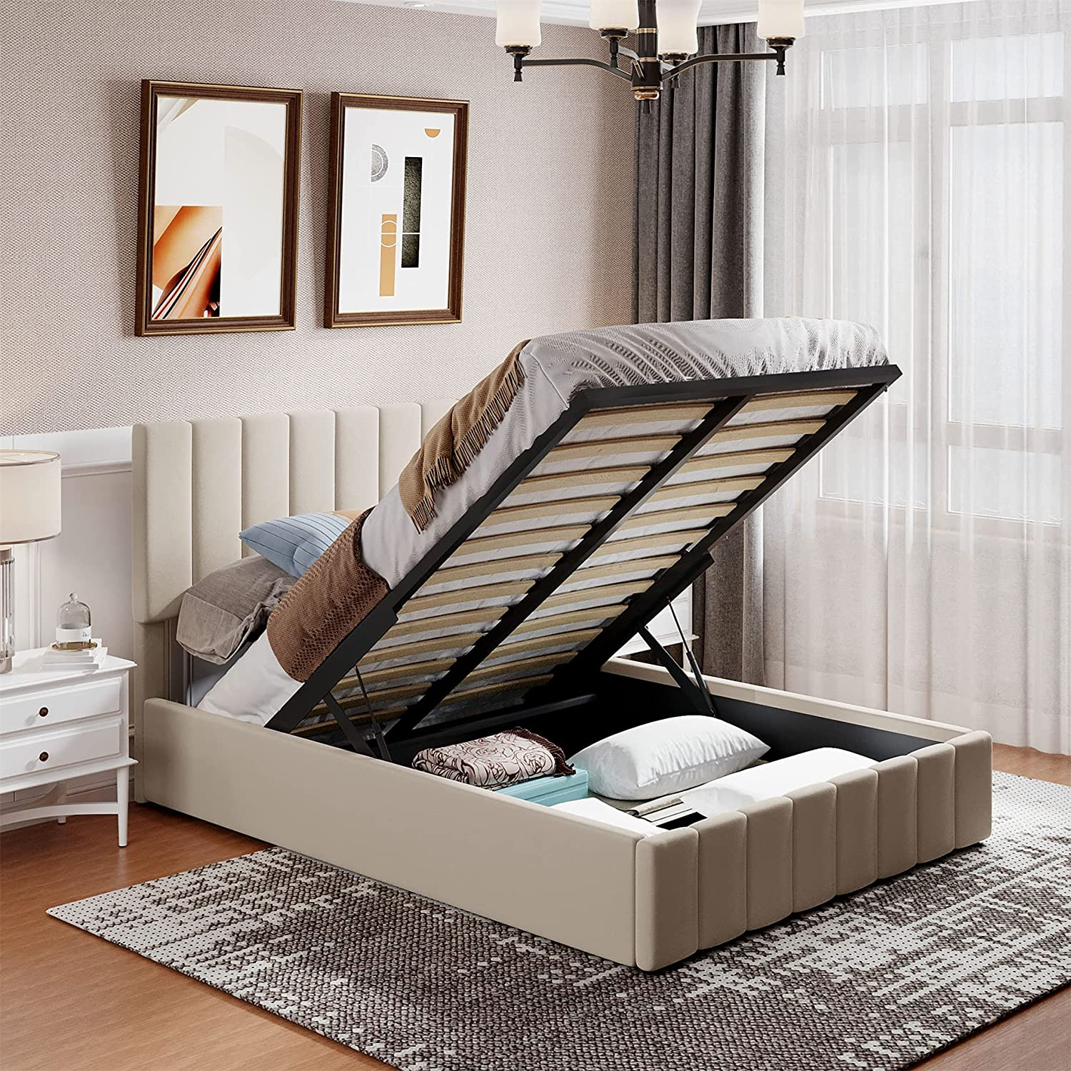 Upholstered Linen 5 popular Platform Bed with Wooden Slat and Max 52% OFF Support Unde