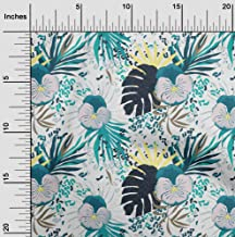 oneOone Cotton Cambric Teal Green Fabric Leaves Dress Material Fabric Print Fabric by The Yard 42 Inch Wide