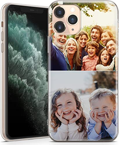 TULLUN Personalised Photo Image Custom Soft TPU Rubber Phone Case For iPhone - Your Own Design Collage of Two Photos ...