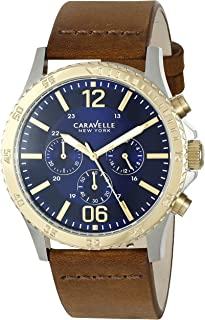Caravelle New York Men's Quartz Stainless Steel and Brown Leather Dress Watch (Model: 45A135)
