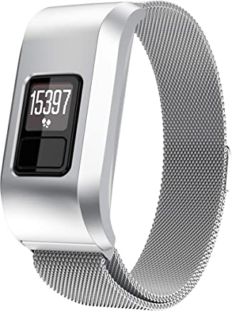 ANCOOL Compatible with Garmin Vivofit 3 Bands Stainless Steel Magnetic Closure Milanese Loop Band with Case Replacement for Garmin Vivofit 3, Small Silver