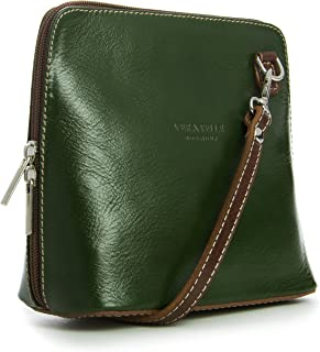 LiaTalia - Piccola borsa crossbody in morbida vera pelle - ABBY - (z** - Verde - con bordino marrone)