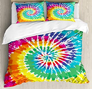 Ambesonne Rainbow Duvet Cover Set, Digital Spiral Vortex Vibrant Rainbow Colored Sixties Ikat Psychedelic Pattern Print, Decorative 3 Piece Bedding Set with 2 Pillow Shams, Queen Size, Orange Green