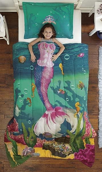 Dream Big Sea Princess Ultra Soft Microfiber 2 Piece Comforter Sham Set Teal Twin